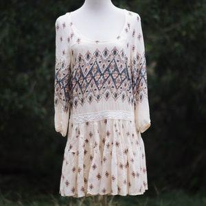 Free People Printed Cream Dress – S